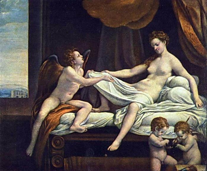 """«Даная» (серия картин """"Любовные похождения Юпитера""""; 1530) — картина Корреджо."""